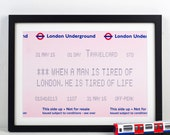 London Underground, London Print, London Quote, Travel, London Poster, Train Ticket, London, Wall Art, Poster, Wall Decor, Quotes, Prints