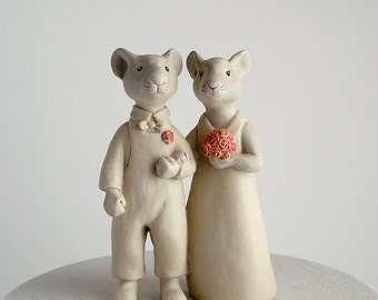 mice couple wedding cake topper - bride and groom - animal husband and wife - ceramic