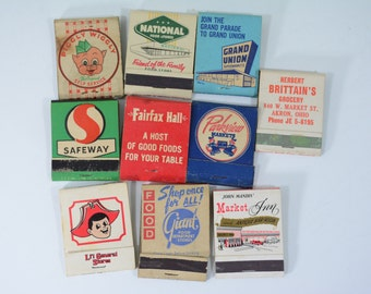 10 Grocery Store Matchbooks Lot