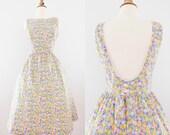 1990s Floral Lanz Open-Back Dress // 90s Tulip Open Back Sundress