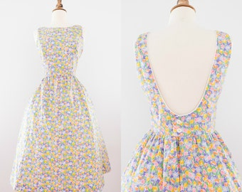 1990s Floral Lanz Open-Back Dress // 90s Tulip Open Back Sundress
