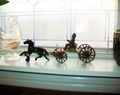 Antique Toy Horse and Buggy Metal 1800s