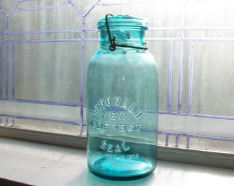 Blue Mason Jar McDonald New Perfect Seal Half Gallon Jar Blue Canning Jar Glass Lid Antique 1900s