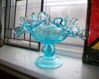 Fenton Blue Glass Compote Beaded Ribbed and Ruffled Pedestal Dish Vintage Art Glass