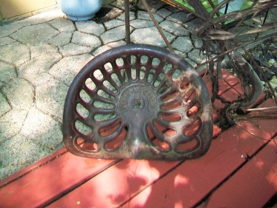 Champion Tractor Seats : Cast iron tractor seat champion implement antique