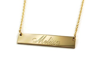 Name necklace • Custom Engraved horizontal bar nameplate necklace • 14k GOLD filled personalized anniversary & bridesmaids