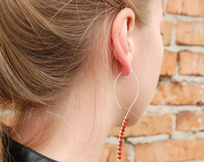 Red Stone Simple Everyday Earrings Sterling Silver Minimalist Earrings Red Agate Hoop Earring Long Silver Earings Thin Silver Earrings