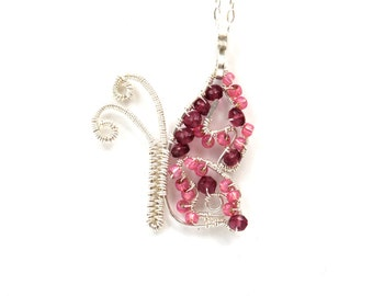 Pink Butterfly Pendant Crafted from Silver Wire