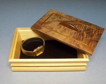 Figured Walnut & Maple Desk Top Box