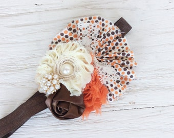 Brown orange ivory autumn headband Girl headbands baby Headband Matilda Jane m2m headband newborn headband shabby headband