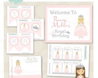Princess Birthday Party Package- Printable PDF files. Includes multiple color and hair choices. Invite, cupcake toppers favor tags and more