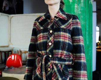 Vintage 60s Tartan Plaid Wool Coat Small