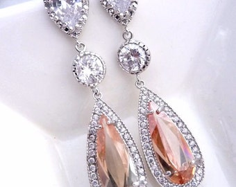 Sales - Wedding Bridal Earring Long Rose Gold Champagne Peardrop Cubic Zirconia with Round CZ White Gold Plated  CZ Post Earrings