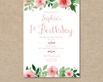 1st Birthday Invitation, 2nd, 3rd, 4th, 5th, 6th, Girls Birthday Party, Pink Roses flowers, Childrens Birthday Party Invitation, Printable