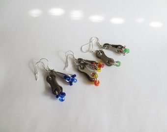 Recycled Bicycle Chain Link and Glass Bead Earrings , Upcycled Bike Jewelry