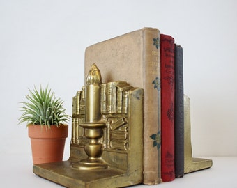 Vintage Brass Candlestick Bookshelf Bookends - Library Books Bookshelf Decor - Heavy Solid Brass Mid Century Bookends