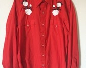 Red Western Floral Roses Embroidered Snap Shirt Chute Southern Gothic Post Punk