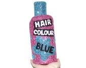 Glitter Blue Hair Colour Bottle Clutch Handbag