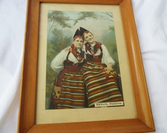 Framed Vintage Swedish Rättvik Dalarne Traditionally Dress Portrait Sisters
