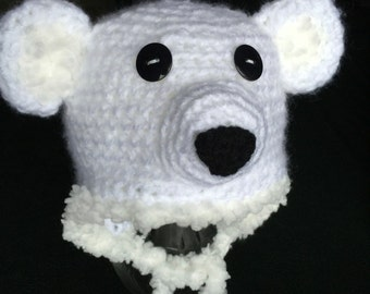 Crocheted  - Polar Bear Earflap Hat -  Winter Hats for Boy or Girl - Animal Winter Hat  Available in all Sizes  -  Photo Prop