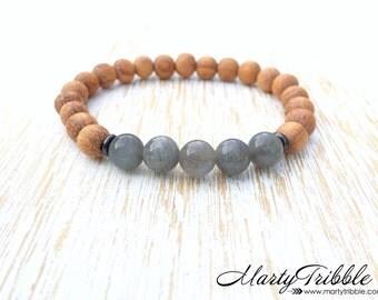 Labradorite Bracelet, Wood Bracelet, Gemstone Bracelet, Healing Crystal Bracelet, Mens Bracelet, Labradorite Jewelry, Boho Jewelry, Vegan