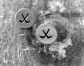 Hockey Earrings / Hand Stamp Stainless Steel Earrings / Dainty Hockey Sticks Studs / Sports Earrings