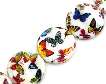 16 Butterfly Beads - Multicolor Painted Butterflies - Shell Beads - 23mm-25mm - 1 Strand - Ships IMMEDIATELY from California - B1227