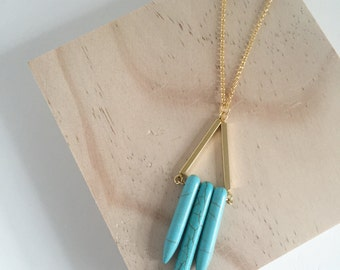 NEW Boho Turquoise Howlite Spikes on Gold Plated Necklace