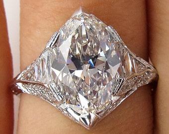 Vinatge GIA Near FLAWLESS 3.04ct OVAL Diamond Platinum Engagement Wedding Ring