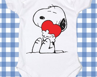 NEW  Baby valentine Snoopy Heart Screen Printed Tshirt Peanuts One-Piece  Baby boy Bodysuit Romper ALL SIZES
