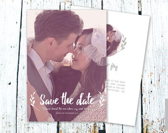 Save the Date Card Template for Photographers, Instant Download, PSD Files, 5x7 Photo Card Template, Photography, Calligraphy, Wedding