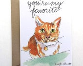Friendship Love You're my favorite card cat hand lettering illustration funny