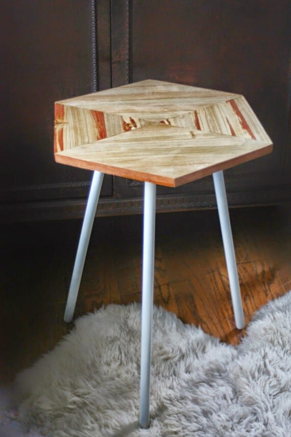 Hexagon Side Table // Tripod Geometric Side Table // Reclaimed Wood Table