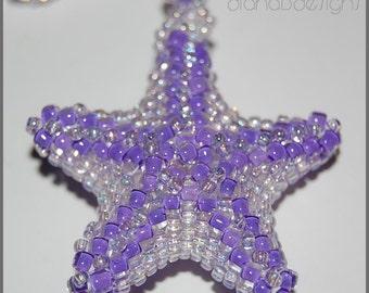Beaded Lavender starfish necklace-lavender purple summer jewelry-womens jewelry-beach ocean jewelry-on the boardwalk-runway jewelry-SRAJD