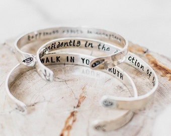 """Custom quote bracelet. Sterling Silver Inspirational quote bracelet. 1/4"""" silver custom hand stamped cuff. Yoga personalized gift"""