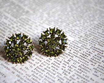 Green Crystal Studs -- Olive Green Earrings, Vintage Look