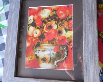 Potted bright flowers from calendar  print  Renoir in wood frame