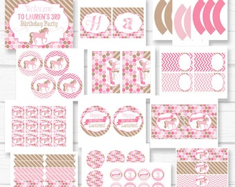 """Personalized Diy Pink """"Pretty Pony"""" Horse Girls's Birthday Party Digital Printable Party Package"""