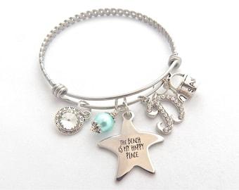 BEACH Charm Bracelet, The Beach is my Happy Place, Beach Lovers Gift, Starfish Charm Jewelry, Beach Babe, Personalized Bangle, Beach Gift