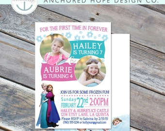 Frozen Joint Photo Birthday Invitation - Sisters - 5x7, 4x6 - 4th 5th 6th 7th 8th - Elsa Anna Olaf - Digital Printable File - Cardstock