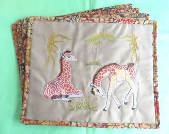 African Theme Place mats - Quilted Place mats - Handmade Place mats - Animal Place mats -   Place mats - Handmade Embroidered place mats