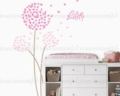 Butterfly Dandelion Wall Decal with Custom Name for a Butterfly Nursery Kids or Childrens Room 033