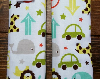 Reversible TODDLER Car Seat Strap Covers Riley Blake Oh Boy with Brown Dimple Dot Minky Cuddle Baby Boy Accessories Gift ITEM #054