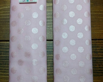 Reversible TODDLER Car Seat Strap Covers Pink Metallic Polka Dots with White Paisley Cuddle Minky Baby Girl Gift Accessories ITEM #199