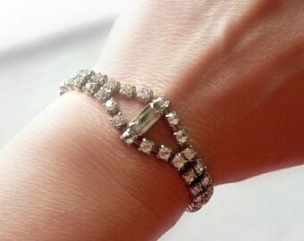 Art Deco Bracelet - Vintage Rhinestone Bracelet -  Bridal Jewelry - Vintage Wedding - Prom Bracelet