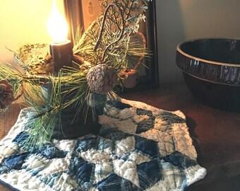 Americana Primitive Quilt Candle Mat~ Vintage Quilt Piece~Primitive Decor~ basket filler~ blue red~Seven Sisters Quilt~ Fourth of July