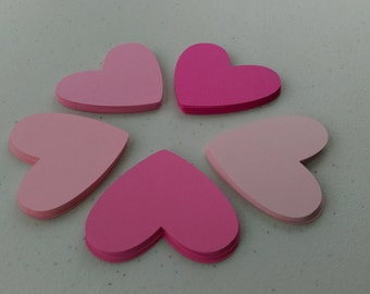 Heart Die Cut Shapes, Paper Hearts, Heart Shaped Love Notes, 5 Shades of Pink, Valentine's Day, Wedding