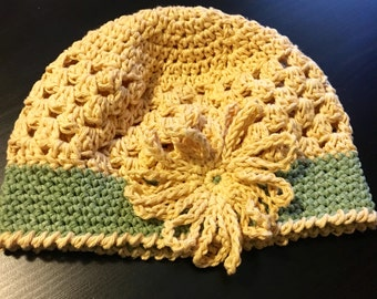 Yellow and Green Cotton Crochet Girls Hat Toddler Size