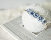 Newborn Photo Prop - Newborn Headband: Newborn Tieback, Newborn Flower Crown, Newborn Halo, Organic Photography Props, Blue, Moss, Lace