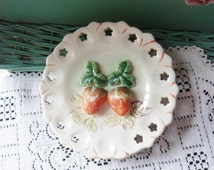 Dish Style Wall Planter with Two Applied Strawberries, Strawberry Wall Pocket with Pierced Edge